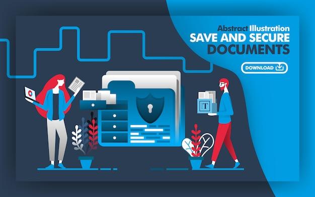 Poster abstrato de salvar e proteger documentos
