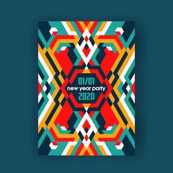 Pôster abstrato decorativo de cor brilhante, banner vertical moderno.