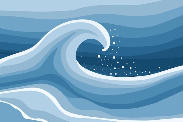 Pôster abstrato do oceano com ondas e respingos de água