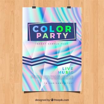 Poster abstrato do partido com efeito holográfico