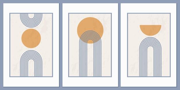 Pôster abstrato estilo boho com formas e linhas geométricas