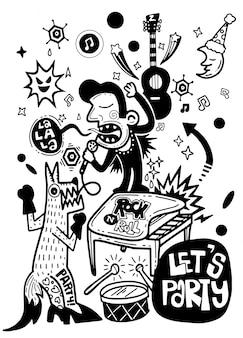 Poster abstrato, homem dos desenhos animados e raposa cantando com um microfone.