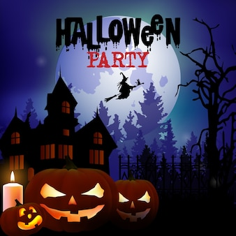 Poster assustador festa de halloween