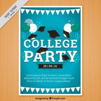 Poster azul para a festa de faculdade