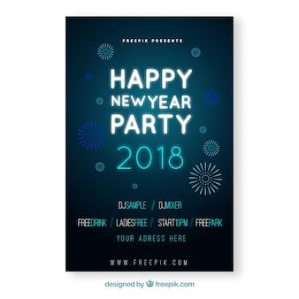 Poster azul simples do partido do ano novo