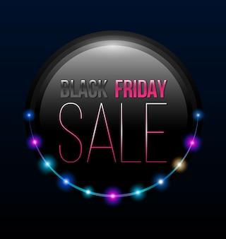 Poster black friday venda com linha de luzes retrô