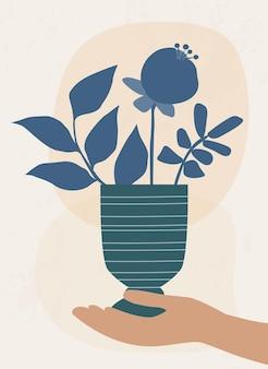 Pôster boho com vaso e flor na mão