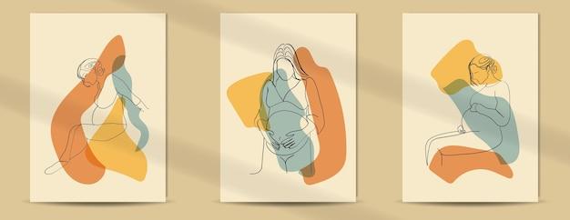 Pôster boho de estilo de arte de linha artística grávida para o dia das mães e o dia das mulheres
