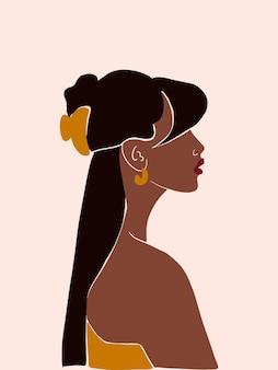 Pôster boho moderno e minimalista com mulher negra. fundo abstrato com silhueta feminina