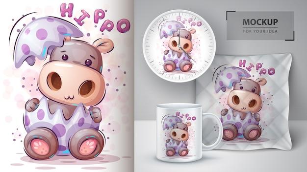 Pôster bonito de hipopótamo e merchandising