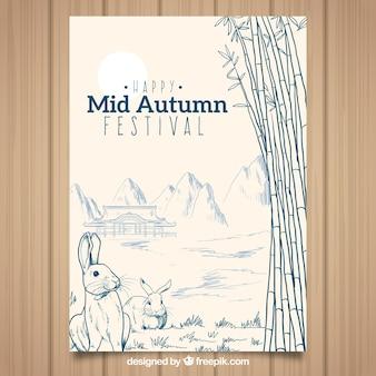 Poster bonito do festival de meados de outono