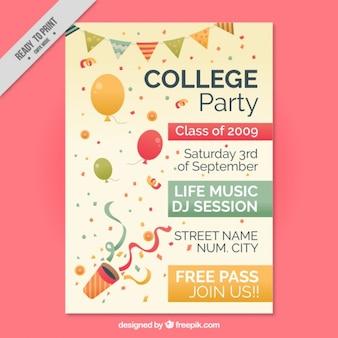 Poster bonito para a festa de faculdade