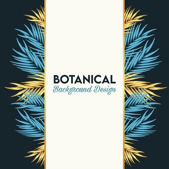 Pôster botânico com folhas douradas e azuis