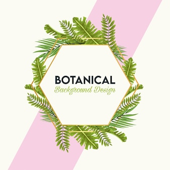 Pôster botânico com folhas em moldura hexagonal