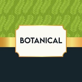Pôster botânico com padrão de folhas e moldura dourada