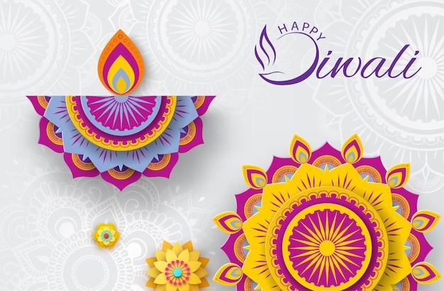 Pôster branco feliz diwali com decoração colorida de padrão de mandala tradicional para festival de luzes