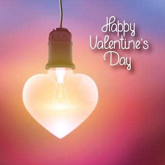 Pôster brilhante com inscrição de saudação e lâmpada incandescente pendurada realista em forma de ilustração vetorial de coração