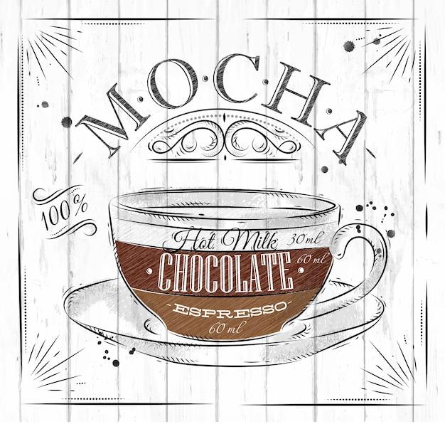 Poster café mocha em estilo vintage, desenho em madeira fundo