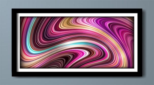 Pôster colorido abstrato com efeito 3d e forma líquida de fluxo.