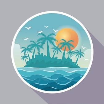 Poster colorido com quadro circular da paisagem da ilha