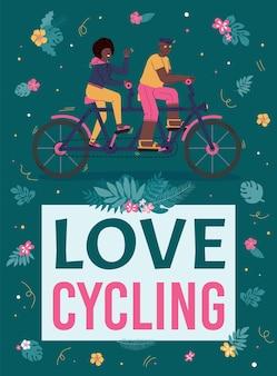 Pôster colorido com um casal homem e mulher amando andar de bicicleta