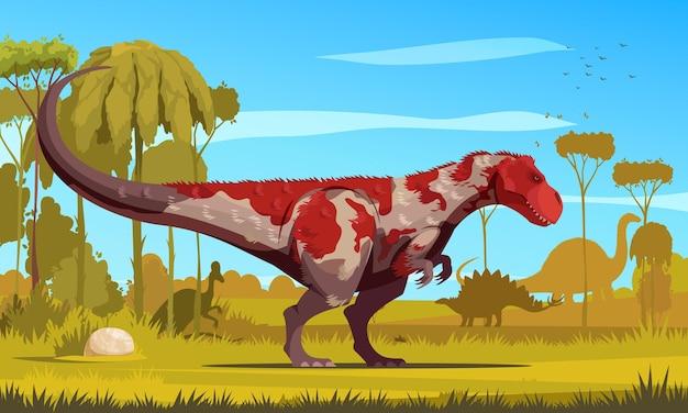 Pôster colorido de desenho de dinossauros com o tiranossauro predador gigante que viveu no período cretáceo ilustração plana