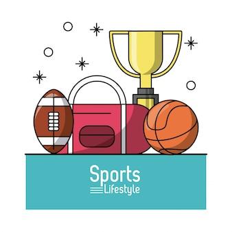 Poster colorido de esportes com troféu de futebol e basquete