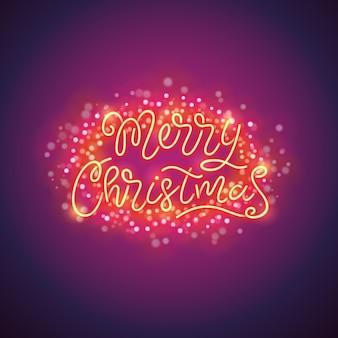 Poster colorido de feliz natal com brilhos mágicos
