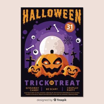 Pôster colorido de halloween em design plano