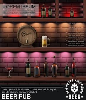 Pôster colorido de pub realista com garrafas de bebidas alcoólicas, copos de cerveja e barris de madeira no balcão do bar