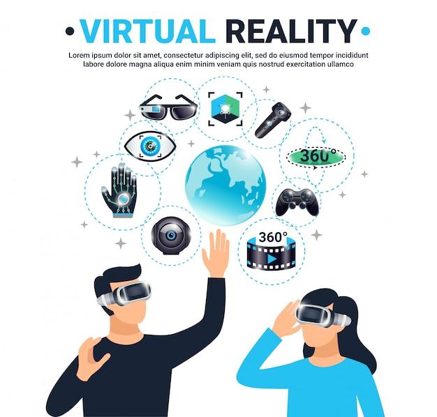 Pôster colorido de realidade virtual