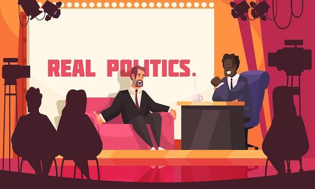 Pôster colorido de um estúdio de tv sobre política real com dois homens fantasiados discutindo questões políticas