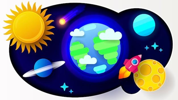 Pôster colorido dos desenhos animados. espaço futurista. ilustração em vetor estilo papel. vetor de papel de parede colorido. ilustração em vetor negócios.