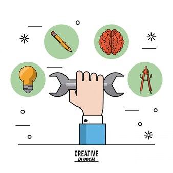 Pôster colorido processo criativo da mão com chave inglesa e ícones