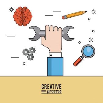 Pôster colorido processo criativo de mão com chave