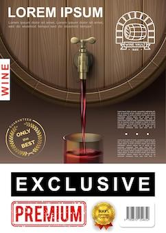 Pôster colorido realista de vinificação com vinho tinto escorrendo de um barril de madeira para uma ilustração de vidro