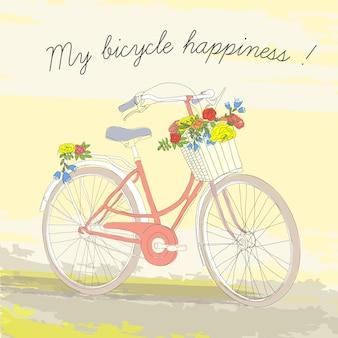 Pôster colorido vintage de bicicleta de primavera