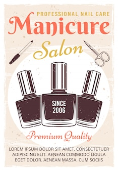 Pôster colorido vintage de salão de manicure com esmalte