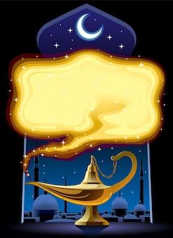Pôster com a lâmpada mágica de aladim