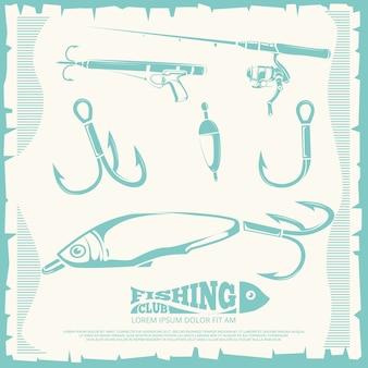 Poster com acessórios de pesca