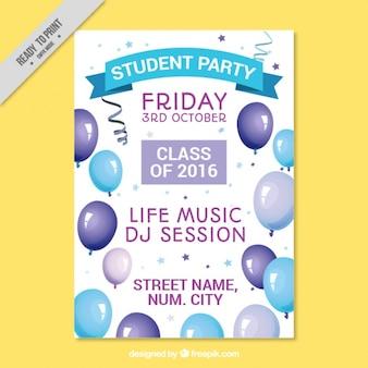 Poster com balões para festa da faculdade