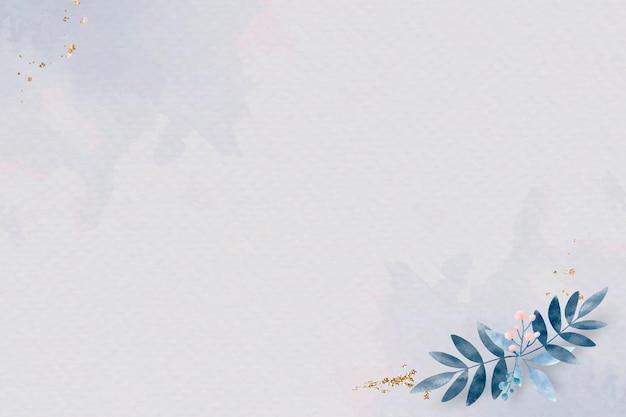 Pôster com folhas azuis em branco
