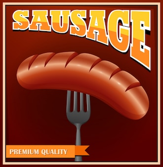 Poster com salsicha no garfo