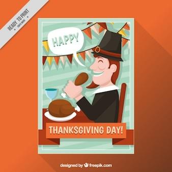 Poster com um homem feliz comendo no dia de ação de graças