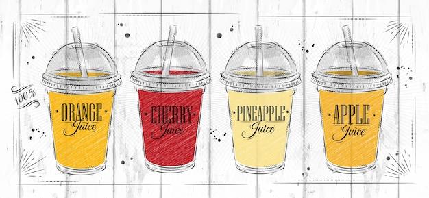 Poster conjunto xícaras com sucos diferentes