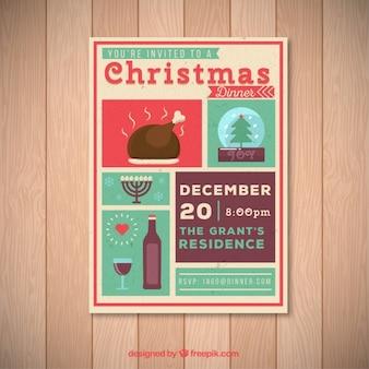 Poster convite do jantar de natal
