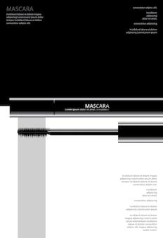 Poster cosmetic mascara com embalagem de ilustração vetorial