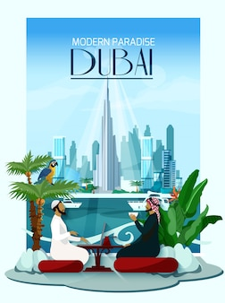 Poster da cidade de dubai com o burj khalifa e arranha-céus