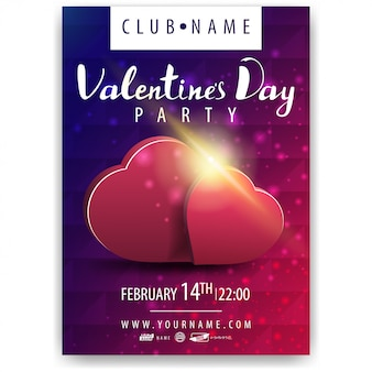 Poster da festa de dia dos namorados com corações