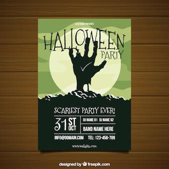 Poster da festa do dia das bruxas com a mão do zombi